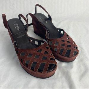 Cordani Cherry Red Wedge Heels Sz 8.5
